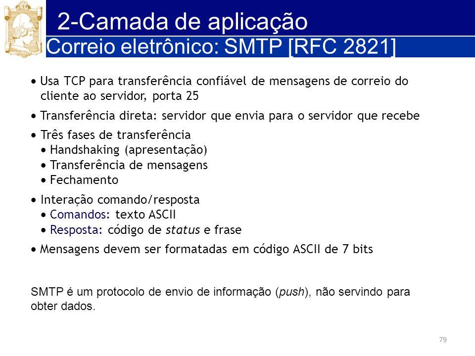 2-Camada de aplicação Correio eletrônico: SMTP [RFC 2821]